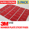 5x Number Plate Sticky Pads 3M Very High Bond Adhesive Number Plate Fixings