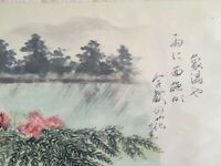 Japanese Hanging Scroll Kakejiku Hand Paint Paper Landscape Kanji Antique m318