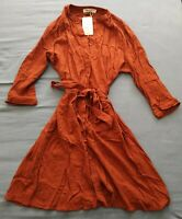 Amichi Women's Orange Button Up Tie Waist Dress Size XL New With Tags