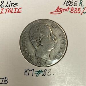 ITALIE - 2 LIRE 1886 R - Pièce de Monnaie en Argent // Qualité : TB