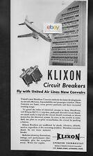UNITED AIR LINES CONVAIR 340 MAINLINER WITH KLIXON CIRCUIT BREAKERS 1953 AD