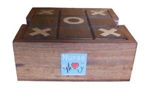 Nurse Wooden Tic Tac Toe Solitaire Game FREE ENGRAVING 558