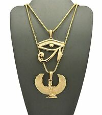 Hip Hop Egyptian Eye of Horus, Ma'at Pendant & Box Chain 2 Necklace Set RC1671G