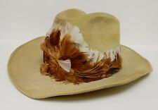Boot Hill Western Cowboy Hat w Hand Made Feather Band Tan 7.25 to 7.75 VINTAGE
