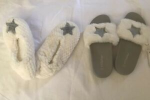 Womens Slippers 2 Pairs Sparkle Stars