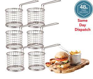 6 MINI CHIP PAN FRYER SERVING BASKET HOLDER DINNER PARTY RESTAURANT SIDES DISH