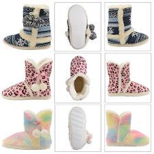 Dunlop Womens Slipper Boots Ladies Slip On Indoor Fleece Faux Fur Winter Booties