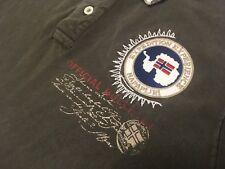 Napapijri Mens Long Sleeve Polo Shirt Norway Patch Metal Button L