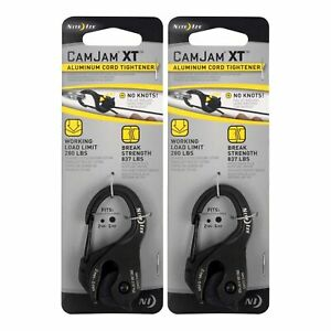 Nite Ize CamJam XT Black Aluminum Rope & Cord Tightener Ultimate Tie Tool 2-Pack