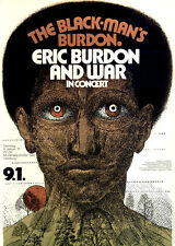 Eric Burdon and War - Animals ORIGINAL A1 Konzertplakat 1971 GEROLLT Art: Kieser