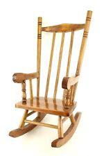 """Vtg Doll Wooden Rocking Chair Furniture Wood 19"""" Country Early American Style"""