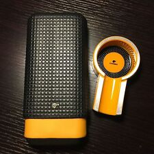 Yellow Black Cohiba Leather Cedar 3 Ct Cigar Case Holder & Yellow  Cigar Ashtray