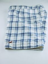 Hollister Mens Board Shorts Size 32 Blue/White Plaid