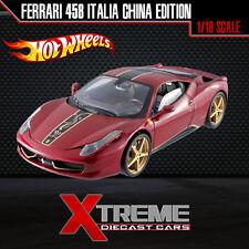HOTWHEEL ELITE BCK12 1:18 FERRARI 458 ITALIA CHINA EDITION SUPERCAR DIECAST CAR