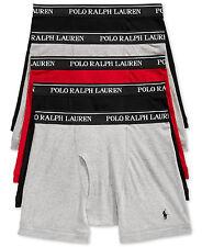 NEW POLO RALPH LAUREN Men's 100% Cotton Boxer Briefs 5 Pack L BLACK GRAY RED