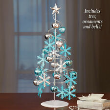 Tabletop Christmas Tree Mini Xmas Spiral Ornaments Decorated Snowflakes Top StaR