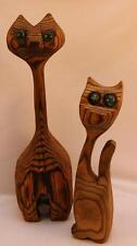Pair of MCM Witco Hand Carved Green Eyed Cats Tiki Wood Mid Century Modern