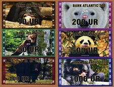 SET, Atlantic Bank 10;50;100;200;500;1000 Ur 2016, Private Issue UNC > Bears
