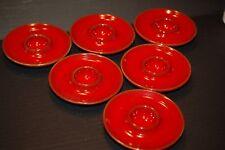6 Ceramic Disk Egg Holders Vibrant Red