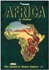 """Cool Retro Travel Poster *FRAMED* CANVAS ART Africa Map clipper 24x16"""""""