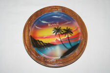 Hawaii vintage round wooden souvenir painted   made in Philippines