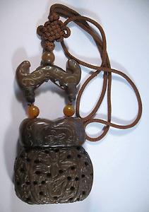 Brown Serpentine Carved Dark Brown Stone Inro Box, Inro Asian Design (D45)