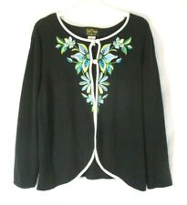 Bob Mackie Wearable Art Cardigan Sweater Embellished Black 1X Women CBC17