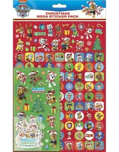 PAW PATROL CHRISTMAS Mega Pack of Stickers, Loads of Different Stickers A4 Size