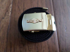 MILITARY STYLE BLACK WEB BELT WITH NAVY GOLD SUBMARINE  BRASS BUCKLE