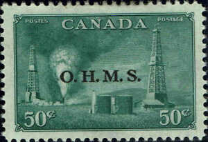 """CANADA #O11 1950 50c """" O.H.M.S."""" OVERPRINTED OFFICIAL STAMP ISSUE MINT-OG/LH"""
