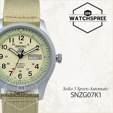 Seiko 5 Sports SNZG07K1 Automatic Military Khaki Beige Watch Japan Movement 100m