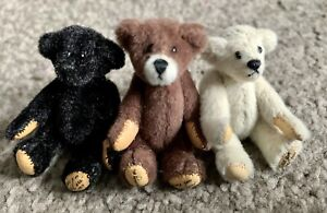 "Little Gem Bears- Lot  3 Teddy Bears Trio Brown, White, Black  2"" So Cute!"