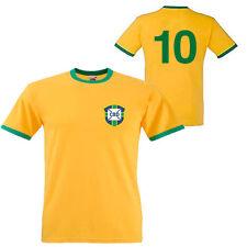 PELE 1970 BRAZIL BRASIL RETRO CLASSIC FOOTBALL T SHIRT - ALL SIZES