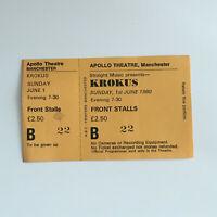 Krokus - 01/06/1980 Manchester Apollo Unused concert Ticket Stub