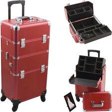2-in-1 Professional Aluminum Rolling Hairstylist Cosmetic Makeup Case Organizer