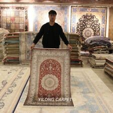 Yilong 3'x5' Red Handmade Carpet Traditional Hand Knotted Silk Bedroom Rug 254A