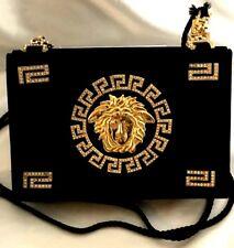 Vintage Gianni Versace Rhinestone Embedded Medusa Black Handbag or Purse! 80's