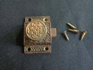 antique ORNATE Cast Iron CABINET CUPBOARD DOOR LATCH and screws EASTLAKE