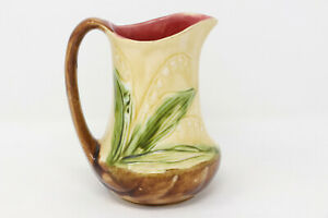 """Rare 5.5"""" Antique Majolica Pitcher Lily of the Valley Orchie's France early 1900"""