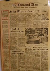 1979 John Wayne Dies Hijacked Jet Trucker Shutdown Baptists Vintage Newspaper