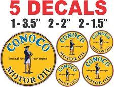 5 Round Conoco Motor Oil Vinyl Decals