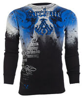 ARCHAIC by AFFLICTION Mens THERMAL T-Shirt NIGHTWATCHER Skulls Biker UFC $58 a