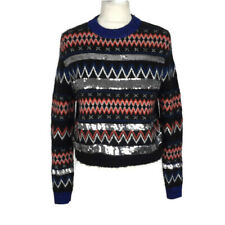 Topshop Black Blue Stripe Sequin Embellish Crop Geometric Short Jumper Size 8