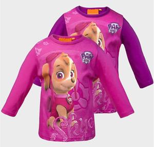 Girls Paw Patrol Skye Long Sleeve Pure Cotton Top Pink or Purple Age 2-6 Years