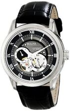 BULOVA MEN'S STAINLESS STEEL SKELETON AUTOMATIC MECHANICAL LEATHER WATCH 96A135