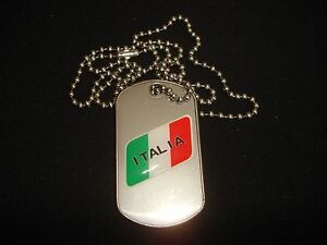 ITALIA Raised Emblem On A Stainless Steel Dog Tag + Ball Chain