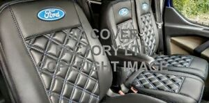 READY IN STOCK2001-2012 FORD TRANSIT VAN SEAT COVERS  BLUE BENTLEY  FORD LOGO A4