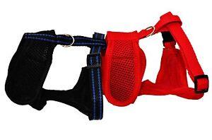 Dog Puppy Pet Adjustrable Harness Vest Soft Mesh Handmade with Clip RED or BLACK