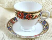 DPS Floral Bone China Teacup and Saucer England
