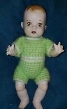 """Vintage Doll Baby String Jointed Bisque Porcelain crochet Clothes 9"""""""